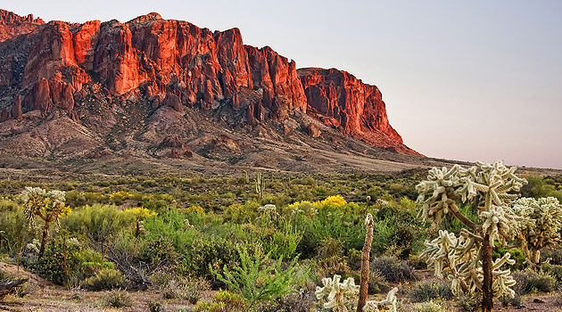 House Sitting USA - the free alternative to dog boarding. Picture is the Superstition Mountains east of Phoenix, Arizona.